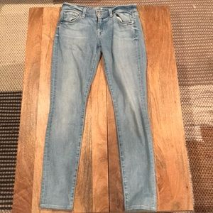 7 For All Mankind Light Wash Skinny Leg Denim.